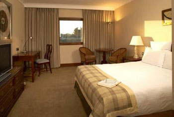 A bedroom at the East Midlands Hilton hotel.