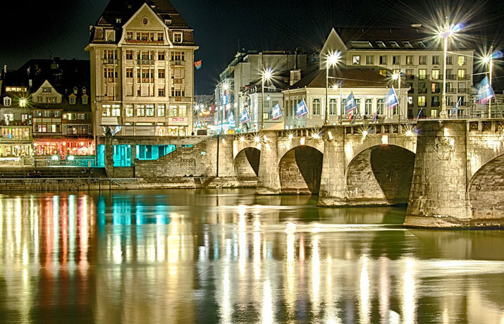 Stadtbild Basel am Rhein