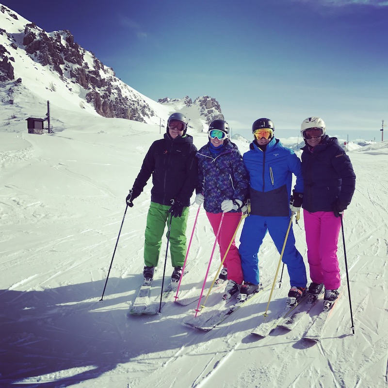 Matthew Pack with wife Amanda and parents Gerry and Carol skiing in Serre Chevallier