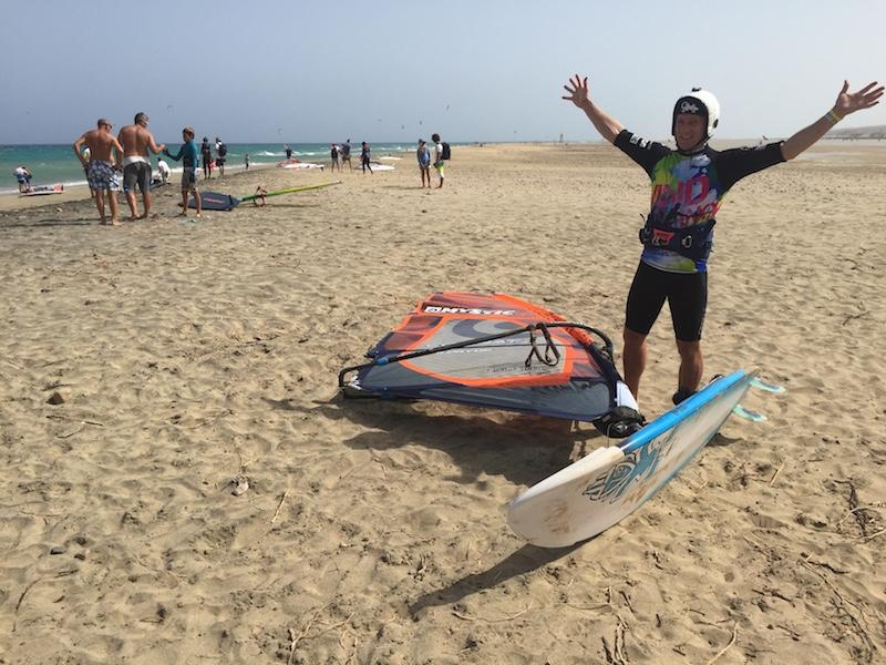 Matthew Pack windsurfing in Fuerteventura